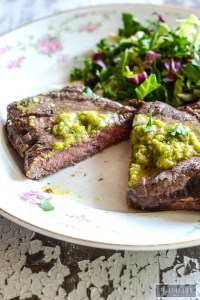 Grilled Bison Ribeye Steak with Avocado butter | ahealthylifeforme.com