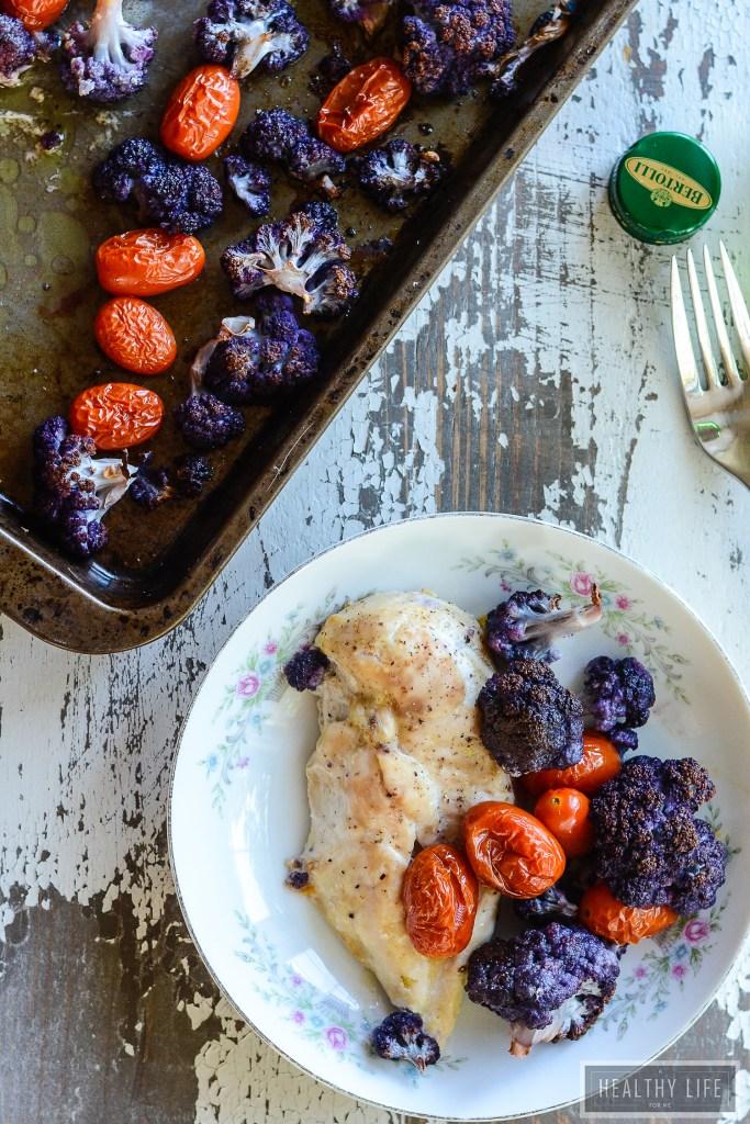 Sheet Pan Chicken Cauliflower Recipe | ahealthylifeforme.com