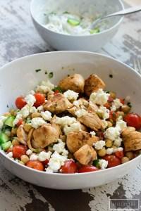 lemon chicken saute with chickpea salad and tzatziki sauce