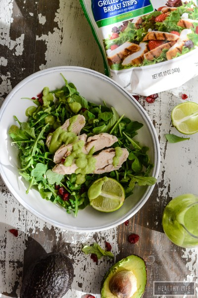 Simple Salad with Chicken and Avocado Lime Cilantro Dressing
