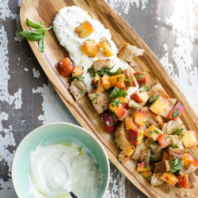 Peach Panzanella Ricotta Salad