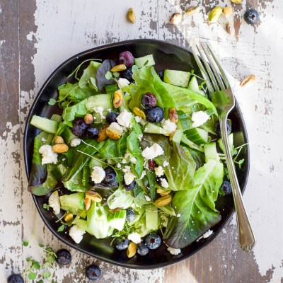 Spring Mix Salad Recipe with Blueberry Pistachio and Champagne Dressing