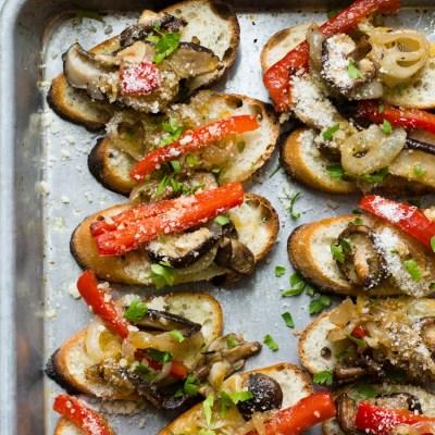 Pepper Mushroom Onion Crostini