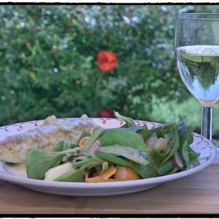 Indian spiced monkfish & fresh garden salad