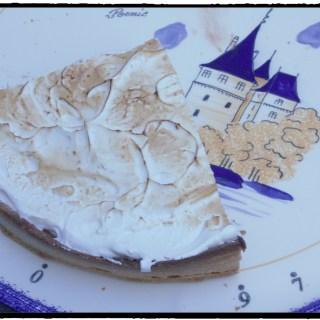 Alix's birthday tart : lemon cream, chocolate ganache and meringue tart