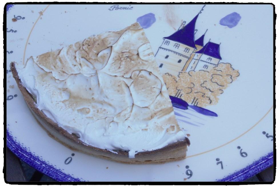 Lemon cream and chocolate ganache tart