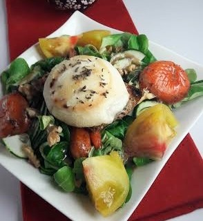 Warm goat cheese salad with poached apricots