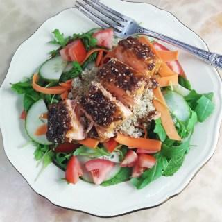 Coriander mint salmon terriyaki Summer salad