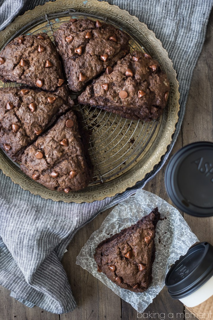 romantic breakfast ideas for Valentine's Day. | Double chocolate scones. | ahedgehoginthekitchen.com