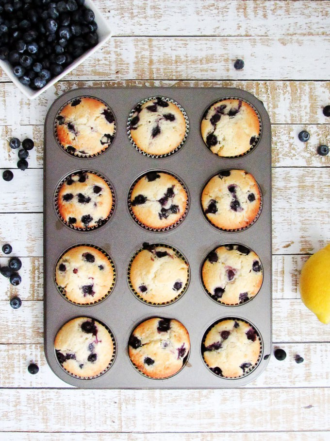 romantic breakfast ideas for Valentine's Day. | Lemon blueberry muffins. | ahedgehoginthekitchen.com