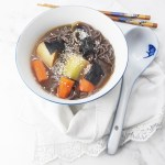 Miso soup with leeks and carrots