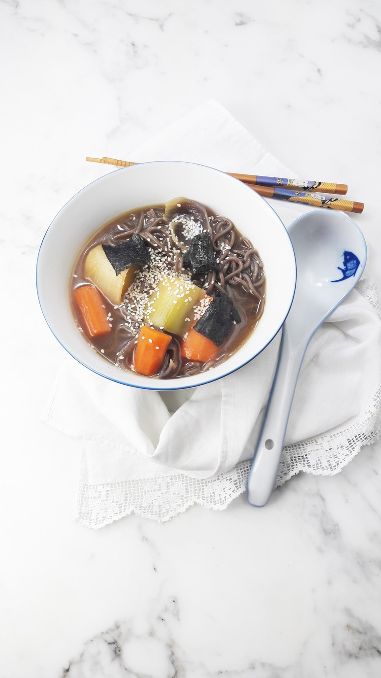 Miso soup with leeks and carrots. | ahedgehoginthekitchen.com