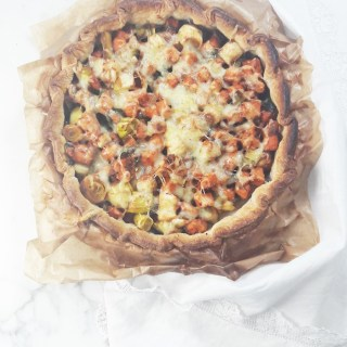 Sweet potato leek tart