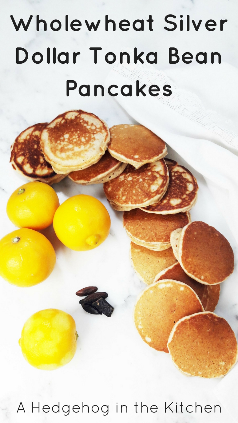 Wholewheat silver dollar bergamot tonka bean pancakes with just 7 ingredients are healthy, wholesome and fluffy. Bursting with the flavor of tart bergamot lemon and rich and nutty tonka bean.   ahedgehoginthekitchen.com