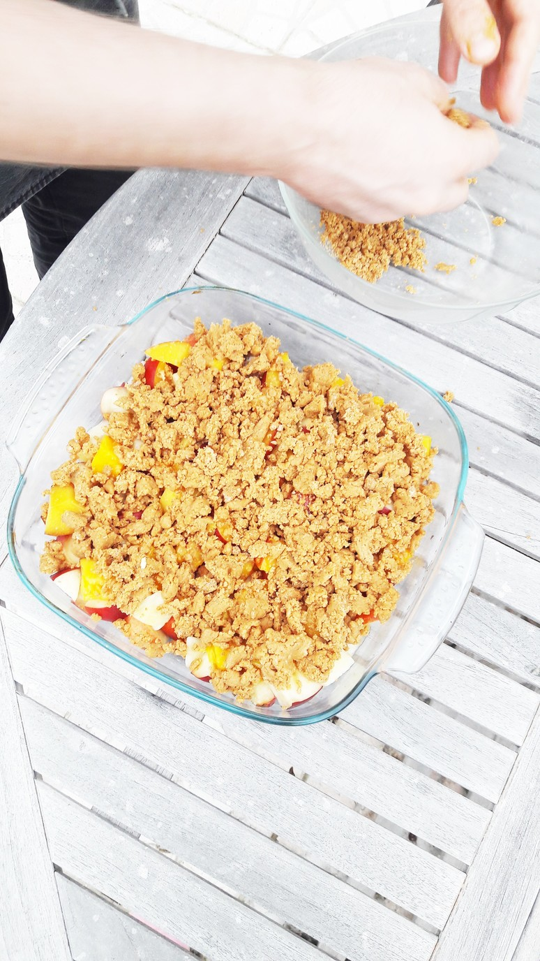 Peach nectarine mango crumble. Easy, healthy, dessert recipe that everyone will love - even kids who don't like fruit! | ahedgehoginthekitchen.com