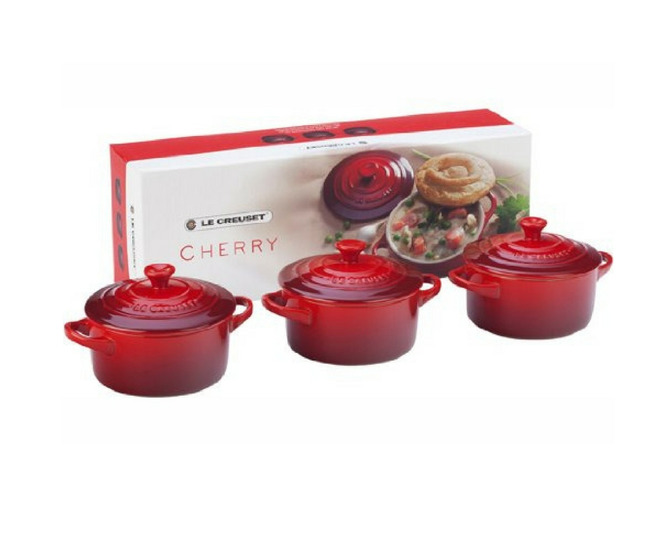 Gift Guide from Our Parisian Home. Mini Red Le Creuset Casseroles. | ahedgehoginthekitchen.com