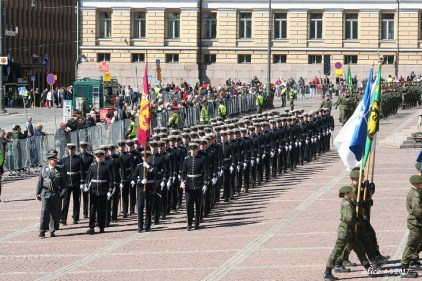 The National Parade on The Flag Day of the Finnish Defence Forces in Helsinki, Senate square 2017