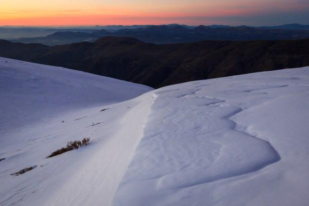 Atardecer de invierno en la Loma de Maitena, Sierra Nevada, 2015