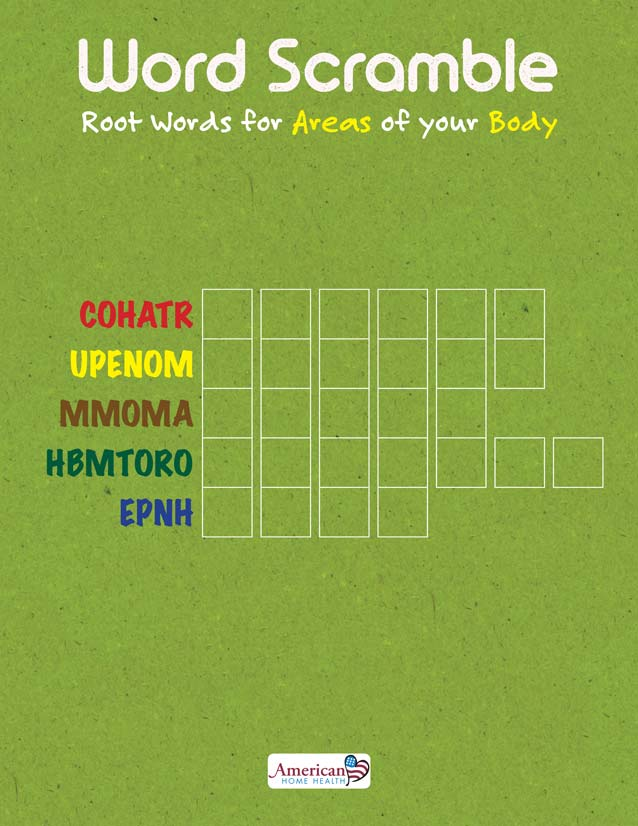 Scramble Words Game - Root Words for Areas of your Body