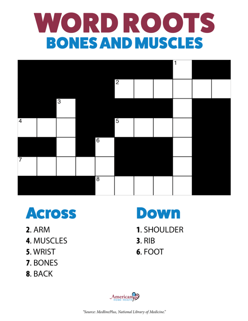 Word Roots Bones and Muscles - Crossword Puzzle