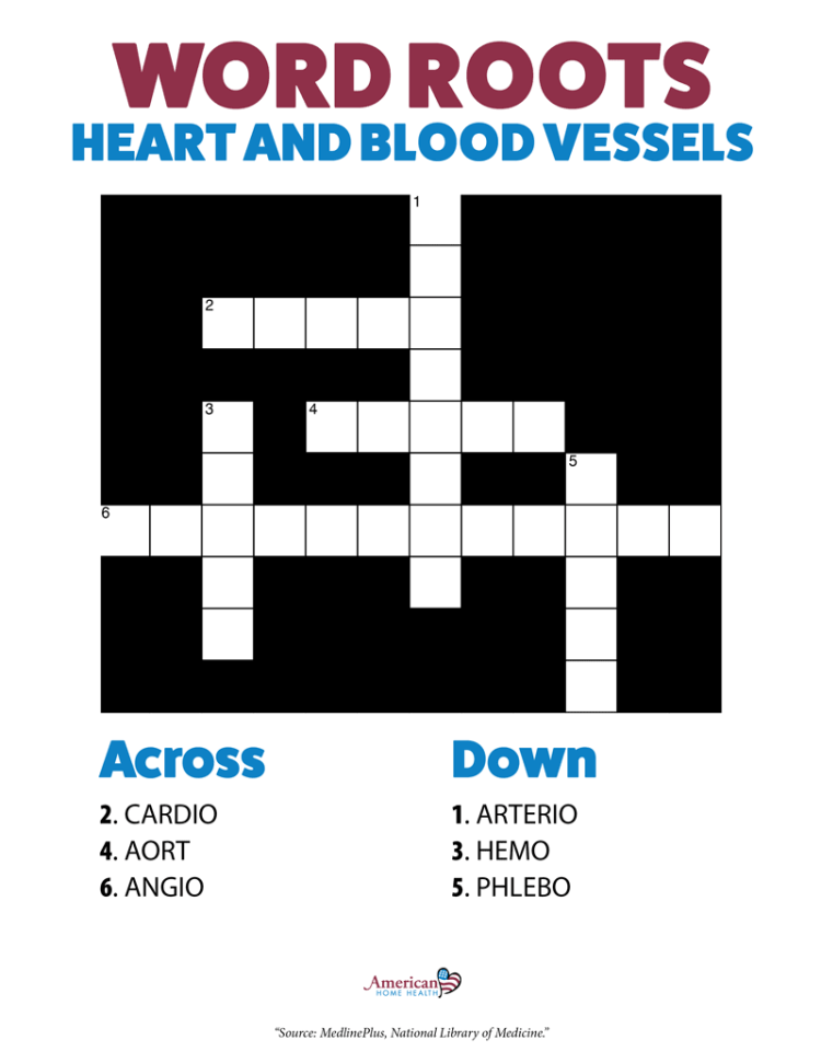 Word Roots for Heart and Blood Vessels - Crossword Puzzle
