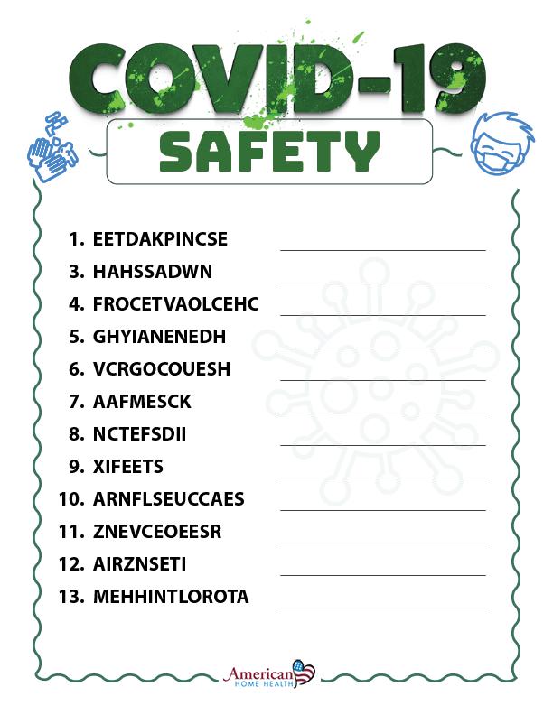 COVID-19 Safety - Word Scramble