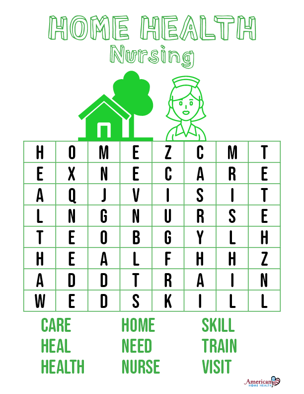 Home Health Nursing - Word Search Puzzle for Kids