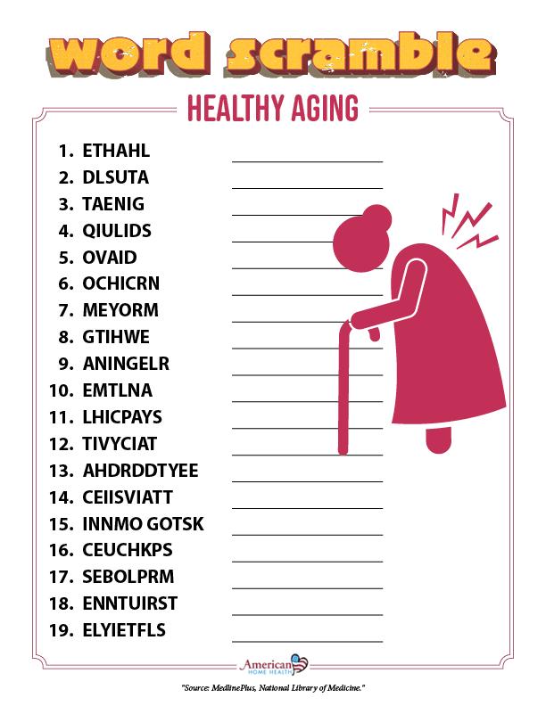 Healthy Aging - Word Scramble