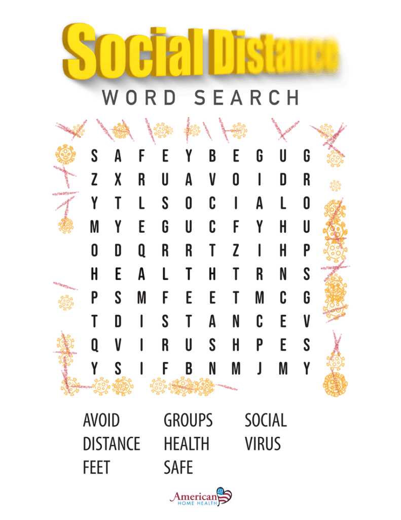 Social Distance - Word Search Puzzle - Easy Format