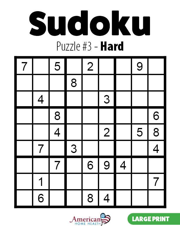 Sudoku – Puzzle Number 3 – Hard