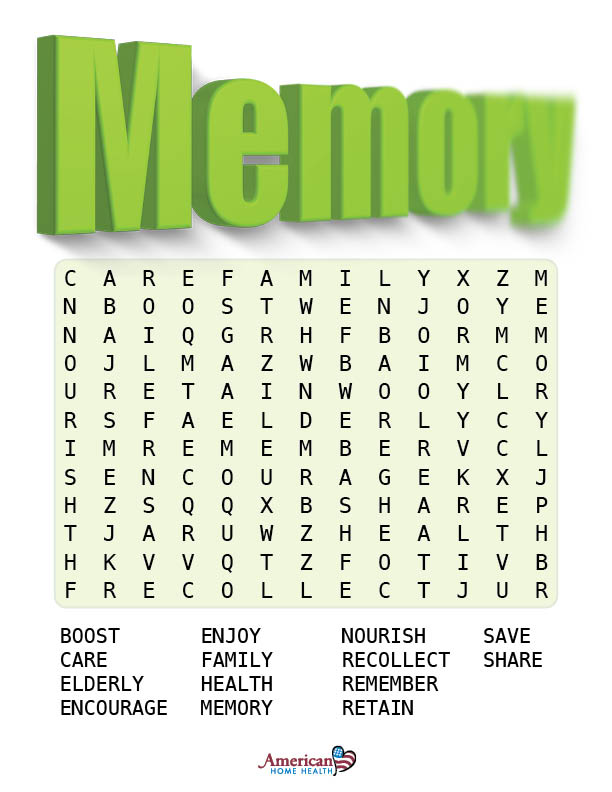 Memory - EASY Word Search Puzzle - For Dementia Patients