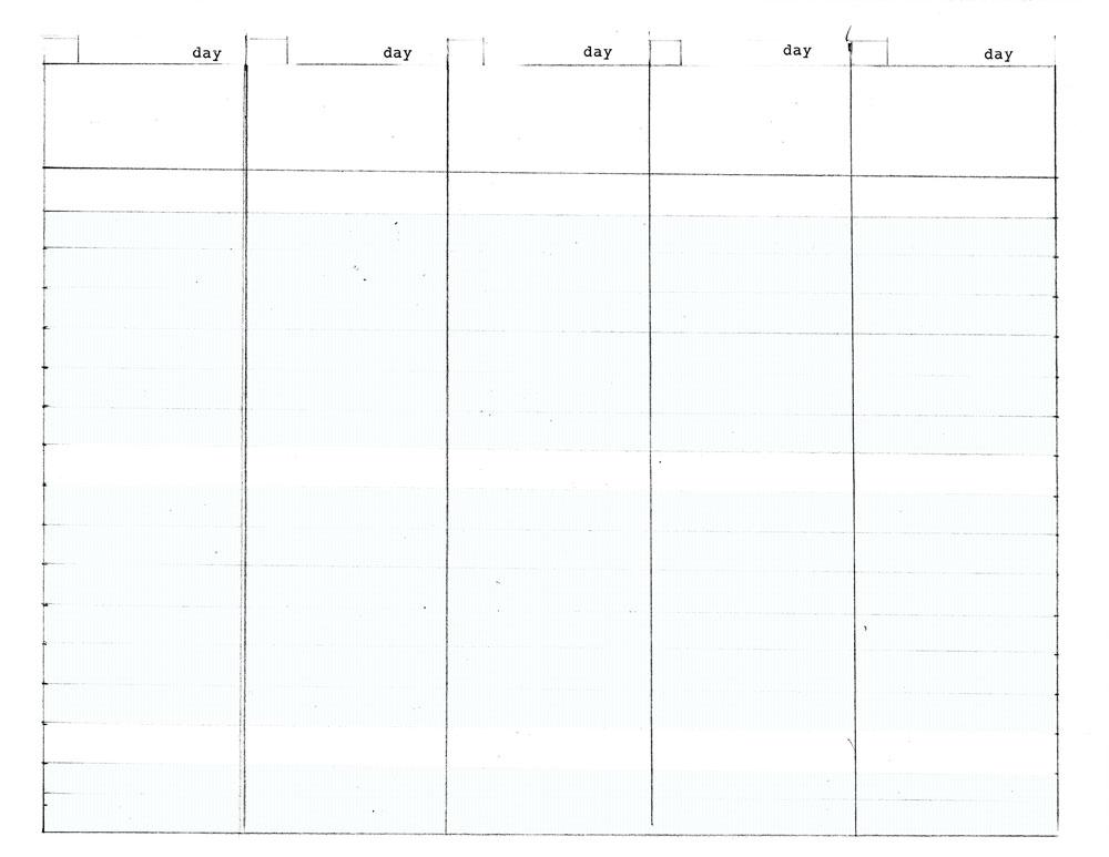 blank work week calendar