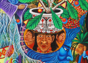 Fig. 14 Detail showing Shipibo pottery, Pablo Amaringo, Misterio Profundo, 2002. Pucallpa, Peru. Acrylic on canvas, 250 x 150 cm. (Image credit: Usko Ayar School, Pucallpa, Peru)