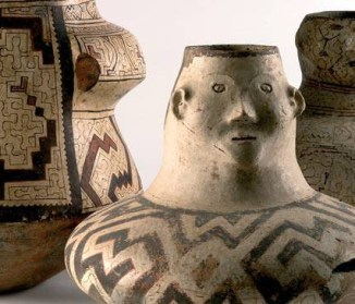 Fig. 15 Unknown artists, Shipibo Porttery Vessels and Urns, c. 19th-20th centuries. Shipibo culture, Ucayali River basin. Painted clay, dimensions unknown. (Image credit: Huelva Provincial Museum, Huelva, Andalusia)