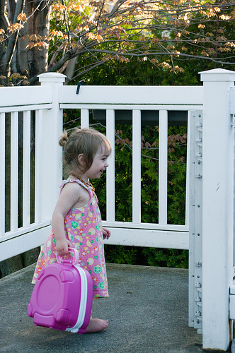Walking with her potty