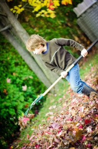 Colin Raking leaves...