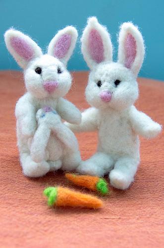 Needle Felted Bunny Family