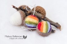 Rainbow Earrings (Needle Felted in Acorn top)