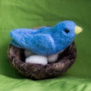 Blue bird and nest