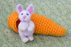 Crocheted Carrot and Needle felted bunny sets