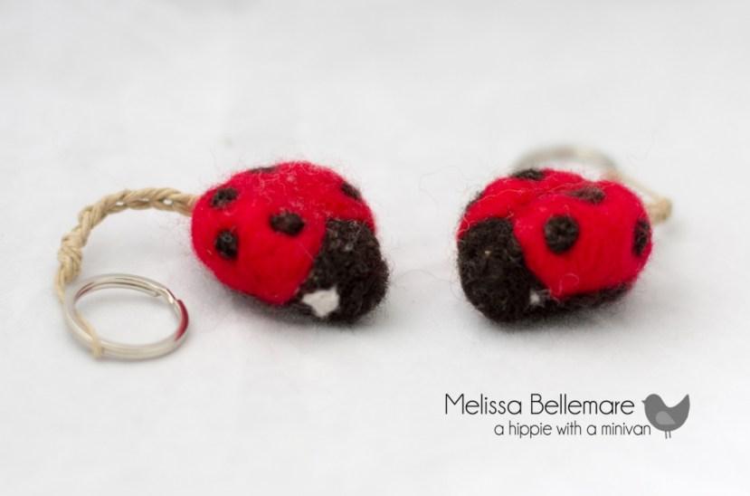 Needle Felted ladybug keychain