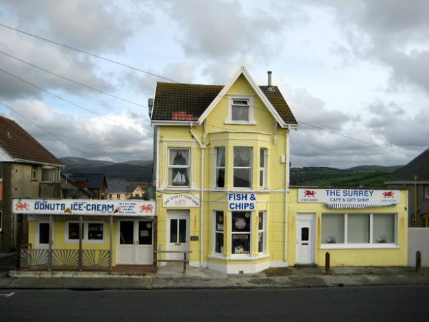 Borth Chip Shop (in putrid yellow)