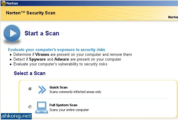 ahkong.net » Blog Archive » Norton Security Scan – Detect. Remove Viruses. Internet Worms – Download – Review