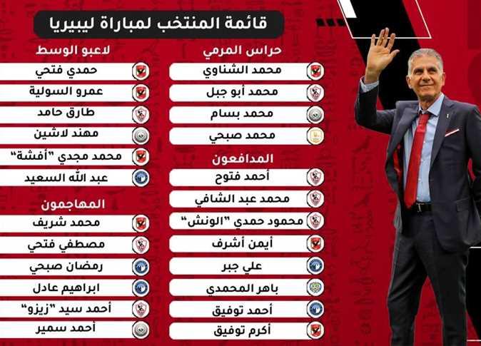 قائمة منتخب مصر لمواجهة ليبيريا الودية