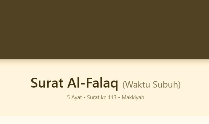 Bacaan Surat Al Falaq Arab Latin Terjemah
