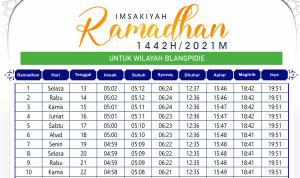 Imsakiyah Ramadhan Blang Pidie 2021