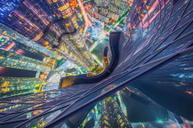 Taken from the highest residential building in Asia – the Zenith in Busan – the photographer had to hang over the edge to capture this incredible view. (Pic: Albert Dros)