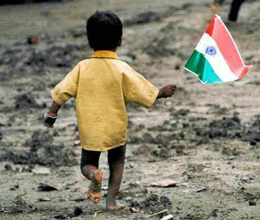 Poor child with Indian Flag running with joy