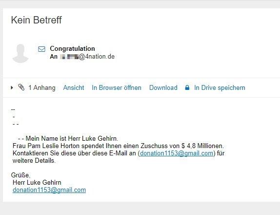 Herr Luke Gehirn gibt sich die Ehre in einer Spam Email!