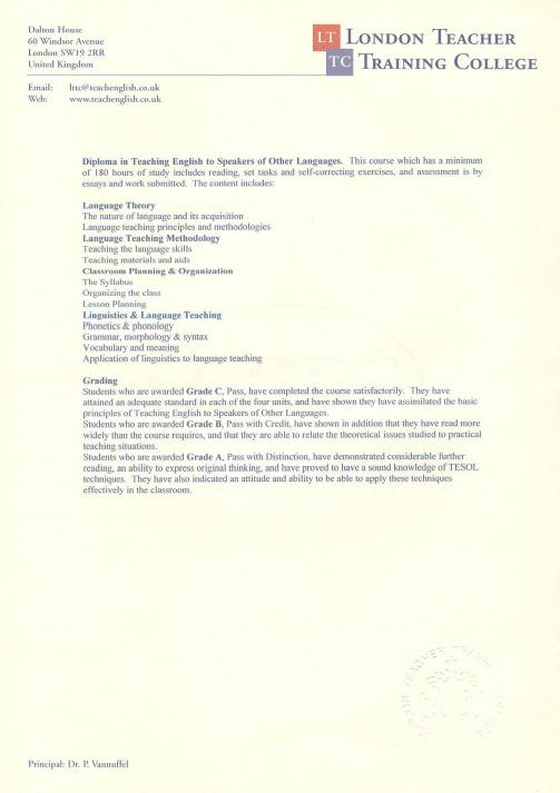 sample tesol resume